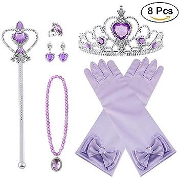 Bascolor Prinzessin Belle Kostüm Zubehör Set Handschuhe Ohrring Kaiserkrone Zaub