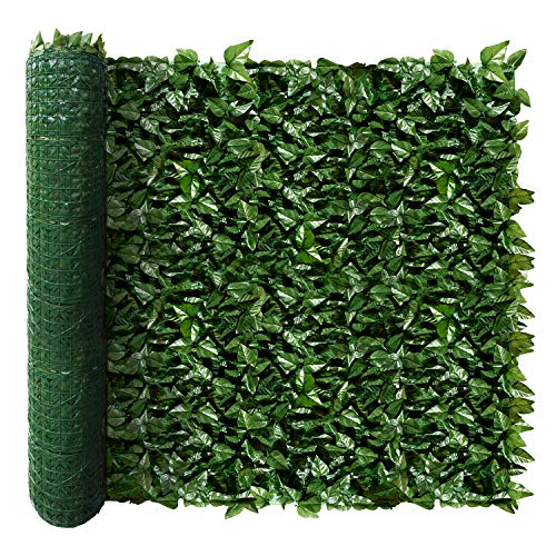 ECOOPTS Aritificial Ivy Fence Wall Décor Faux Ivy Expandable/Stretchable Privacy Fence Screen Plant Leaves and Vine Decoration for Home, Yard, Garden 58''x196''