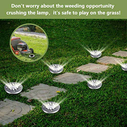 BROOM Solar Ground Lights (12 Packs), Solar Lights Outdoor Bright 10 LED Disk Lights Garden Waterproof Patio In-Ground Lights for Lawn, Pathway, Yard, Driveway, Step and Walkway (Cold White)
