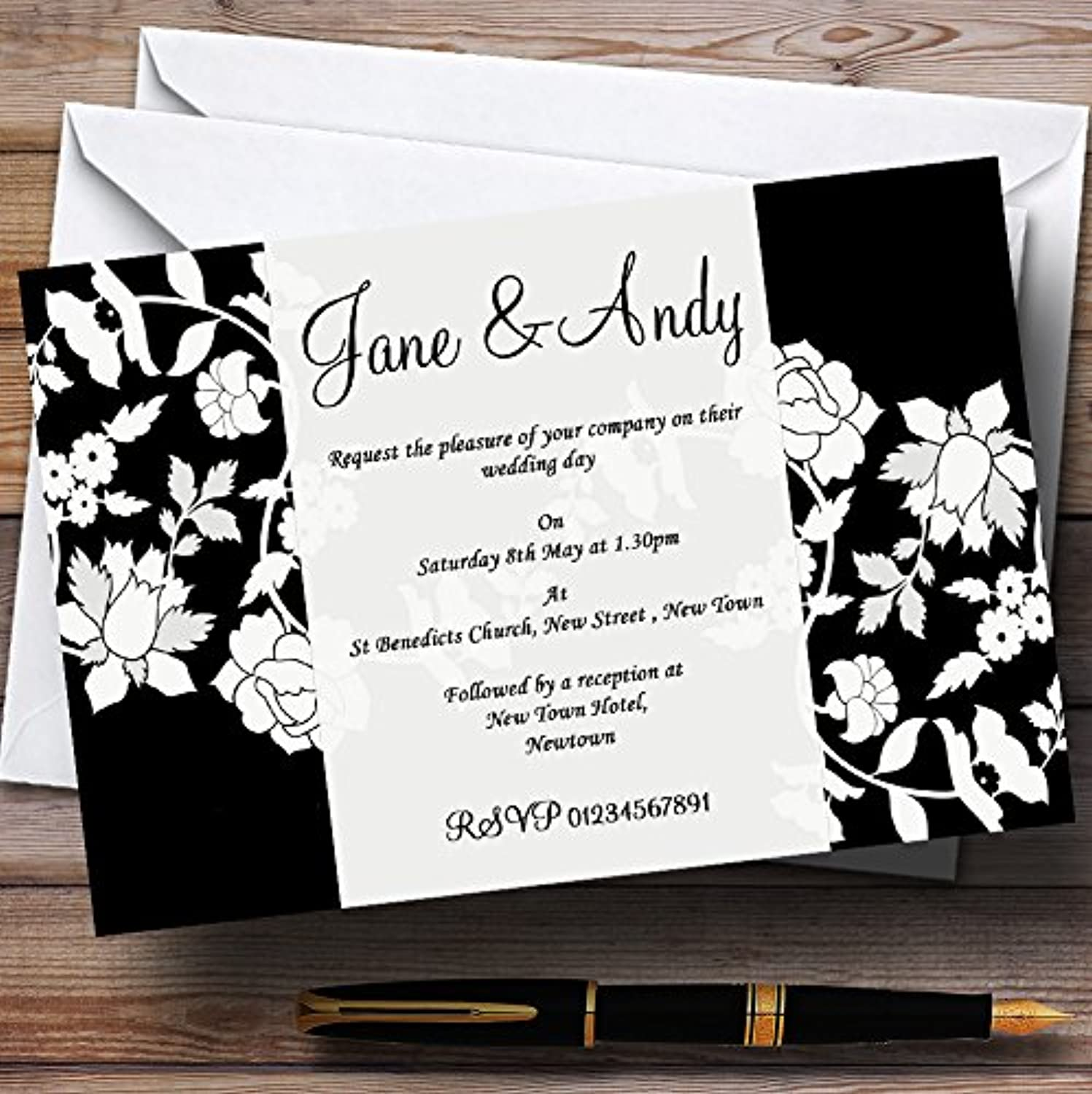 Black And White Floral Flower Personalised Wedding Stationery Invitations   Invites & Envelopes