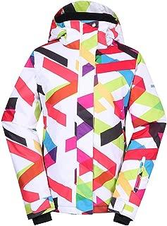 Ski Jacket for Women, Winter Warm Fleece with Hood Coat for Camping Hiking, Waterproof Windproof Outdoor Snowboard Coats, Thermal Parka Jacket, Gift