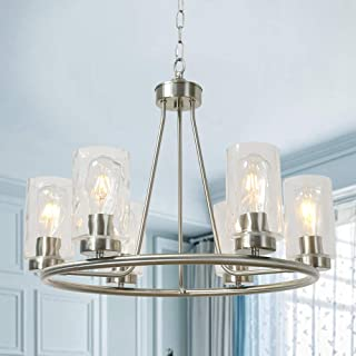 BONLICHT Modern Farmhouse Chandelier 6 Lights Clear Water Glass Pendant Lighting Brushed Nickel Contemporary Round Kitchen Island Dining Room Hanging Light Fixtures Ceiling for Living Room Bedroom