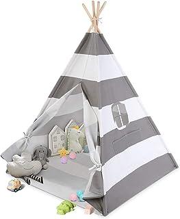 Ejoyous Barntält grå vit bärbar tipi trä bomull för läsning inomhus (blå, grå)