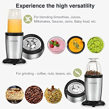 KOIOS 850W Personal Blender for Shakes and Smoothies, 11 Pieces Bullet Single Smoothie Blender for Kitchen, Small Protable Mi