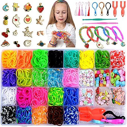 Pulseras elásticas de goma – 1600+ unidades Loom Bands, kit de telar con caja de almacenamiento y herramienta de tejer para pulsera collar
