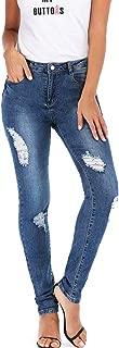 Women Holes in Front adn Back Jeans Denim Pencil Pants Female Mid Waist Trousers Ladies Stretch Slim Jeans
