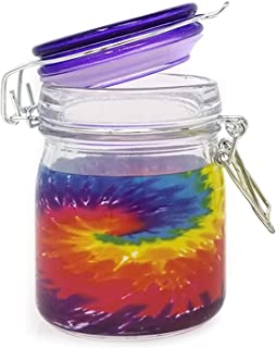 Airtight Glass Herb Stash Jar, 5oz Mason Style with Clamping Lid - Tie Dye Body with Purple Glass Lid