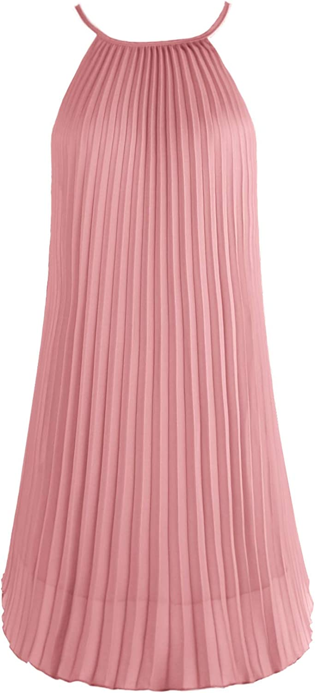 Ellames Women's Summer Spaghetti Strap Pleated Casual Swing Midi Dress with Belt