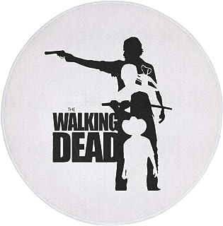玄関マット キッチンマット ドアマット 浴槽マット バスマット 円形ラグ 滑り止め 耐久性 折り畳み可能 屋内 屋外 60×60cm ウォーキング・デッド Walking Dead ロゴ