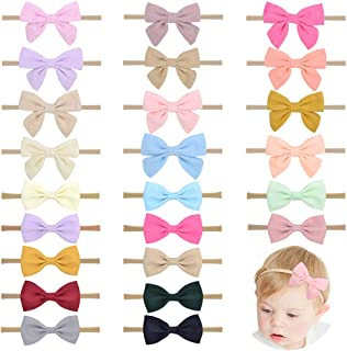 24pcs Baby Girls Flower and Hair Bows Headbands Soft Nylon Hairbands Elastic Hair Accessories for Newborns Infants Toddler...