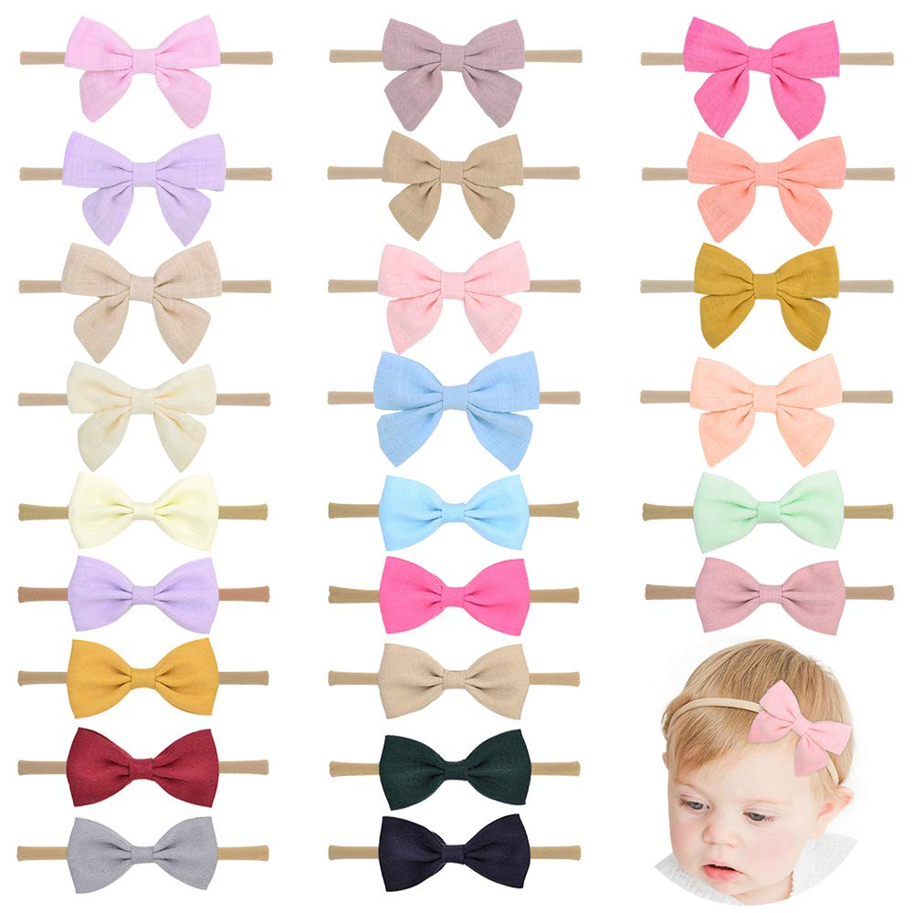 24pcs Baby Girls Flower and Hair Bows Headbands Soft Nylon Hairbands Elastic Hair Accessories for Newborns Infants Toddlers and Kids