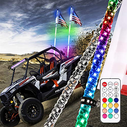 Niwaker 2Pcs 5ft LED Whip Lights with RF Remote Control 360°Spiral Lighted Whips RGB Dancing/Chasing Light Antenna LED Whips for UTV ATV Polaris Off Road Truck RZR Buggy Dune 4X4 SXS
