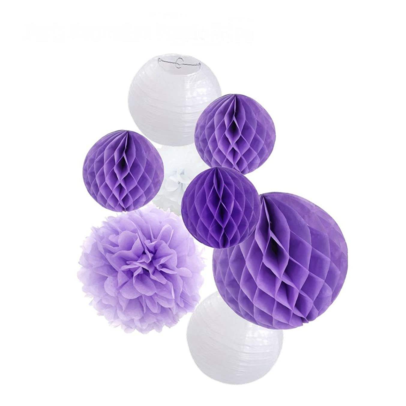 8pcs Tissue Paper Flowers Ball Pom Poms Mixed Paper Lanterns Honeycomb Ball Craft Kit for Lavender Purple Themed Birthday Party Decor Baby Shower Decor Bridal Shower Decor Wedding Party Decorations