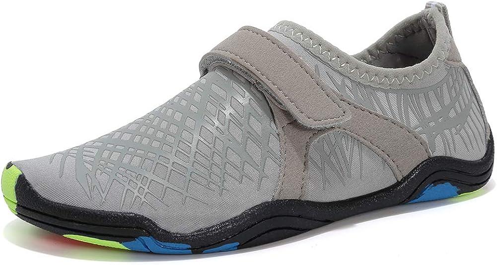 Boys & Girls Water Shoes Lightweight Comfort Sole Easy Walking Athletic Slip on Aqua Sock(Toddler/Little Kid/Big Kid) DKSXM-Grey-35