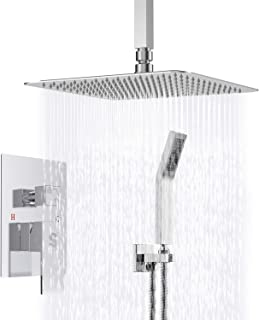 SR SUN RISE SRSH-C1003 Ceiling Mount Bathroom Luxury Rain Mixer Shower Combo Set Ceiling Install Rainfall Shower Head System Polished Chrome (Contain Shower Faucet Rough-in Valve Body and Trim