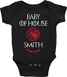Game Of Thrones Baby Onesie Last Name Personalized Targaryen Baby Shower Birthday Gift
