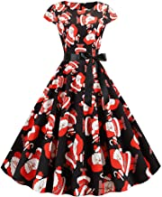 Kauneus Womens Vintage Elegant Evening Party Dress Zipper Petal Sleeve Bowknot Belt Christmas Gown Cocktail Dress