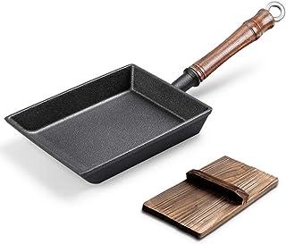 Mini Tamagoyaki Sarten Tortilla Hierro Fundido Rectángulo Japonesa Sartén con Mango de Madera, Sin Revestir, Rápido Desayuno Tortilla Fabricante,Negro