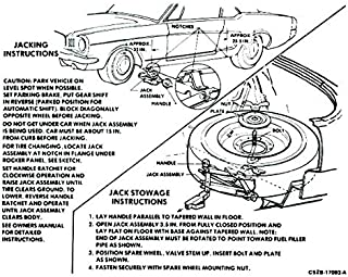1966 FORD MUSTANG JACKING INSTRUCTIONS DECAL - STICKER - All Models