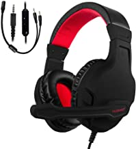 NUBWO Gaming Headset, Xbox One PS4 Headset, Noise Cancelling Over Ear Gaming Headphone Mic, Comfort Earmuffs, Lightweight, Easy Volume Control for Xbox 1 S/X Playstation 4 Computer Laptop (Red)