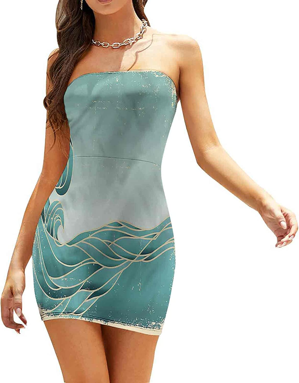 Women's Summer Strapless Dresses Funky Doodle Summer Art Dresses