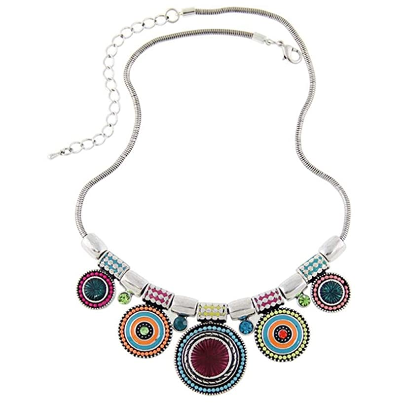 Challyhope Clearance! Vintage Boho Choker Necklace Ethnic Tribal Plated Colorful Bead Pendant Statement Necklace For Women