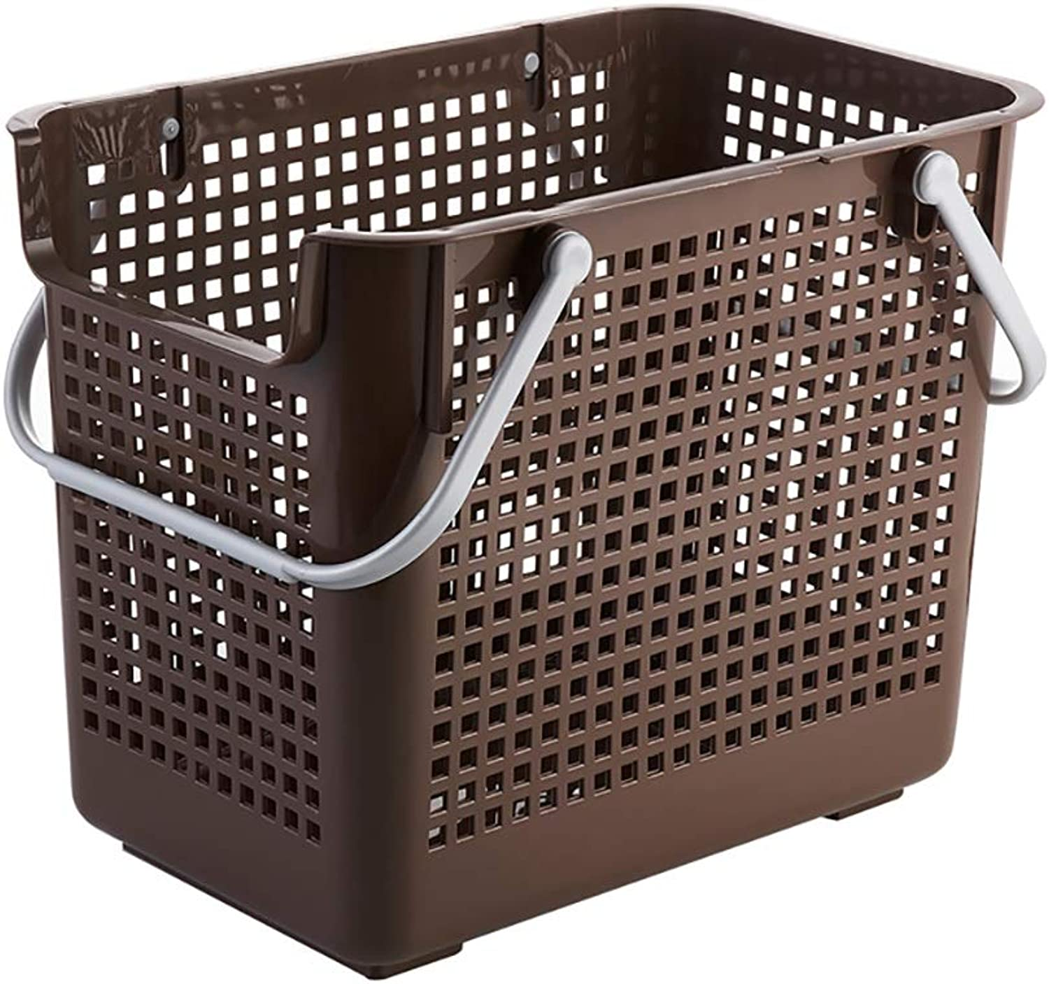 FANGFA Storage Baskets Plastic Bathroom Living Room Clothes Laundry Basket with Handle with Pulley with lid (2 colors, 4 (color   Brown, Size   44  30  38cm)