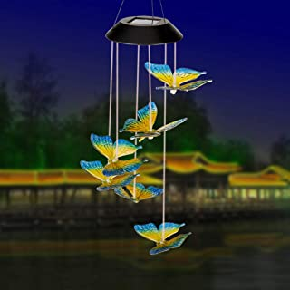 LINGBUSINESS Butterfly Solar Wind Chimes Outdoor Color Changing Waterproof Wind Mobile Bell Spiral Spinner Indoor Yard Garden Patio Decor Home Party Festival Decorative Light, Blue Yellow Butterfly