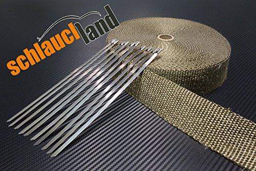 20m Titan Hitzeschutzband 25mm 1400°C + 10 Kabelbinder SCHLAUCHLAND*** Auspuffband Thermoband Krümmerband Heat Wrap Basaltfaser Isolierband Hitzeschutz