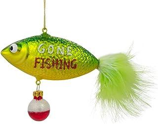 BestPysanky Gone Fishing Glass Christmas Ornament