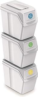 Prosperplast Zestaw 3 koszy na śmieci, całkowita pojemność 60 litrów, możliwość układania w stos, półki w kolorze białym, ...