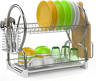 Dish Drying Rack, iSPECLE 201 Stainless Steel 2-Tier Dish Rack with Utensil Holder, Cutting Board Holder and Dish Drainer for Kitchen Counter
