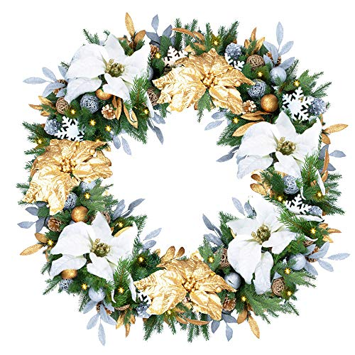 Eazy Treezy 30 in Pine Pre-lit Christmas Wreath - Natural Looking Plug-in Operated Wreath with Incandescent Lights - Indoor Decorative Wreath for Christmas, Winter Holidays (Silver & Gold)