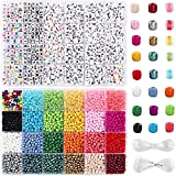 UOONY 8800pcs Beads Kit, Including 7200pcs 4mm Glass Seed Beads and 1600pcs Letter Beads for...