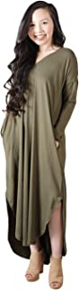 Anna-Kaci Women's Loose Long Sleeve Side Split V Neck Casual Pockets Maxi Dress