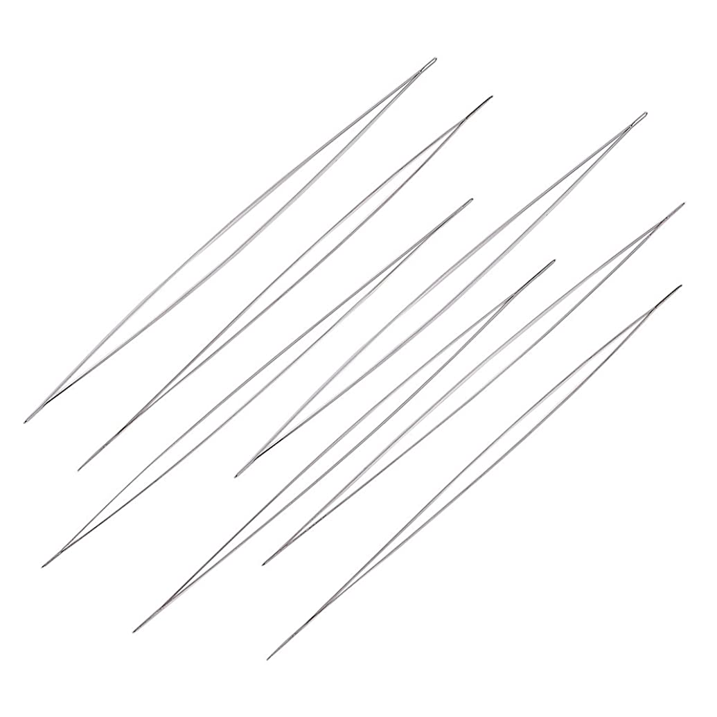 Craftdady 10PCS Stainless Steel Large Big Eye Collapsible Embroidery Beading Needle Easy Thread Sewing Needles, 125mm (4.92 Inches) Long, 0.1mm Thick