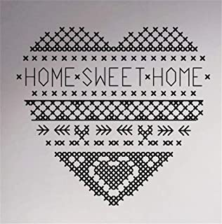 pegatina de pared 3d pegatina de pared frases Home Sweet Home Cross Stitch Pattern Quote Home Interior Hearted Decor Mural for living room bedroom