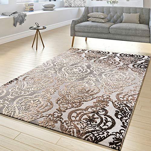 Tappeto da salotto con decorazioni e fantasie astratte, tappeto a pelo corto screziato, colore grigio e beige, grau, 160 x 230 cm