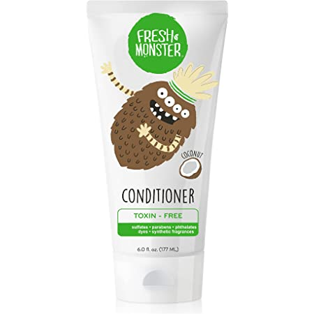 Fresh Monster Kids Conditioner   For Soft & Silky Smooth Hair   Toxin-Free, Hypoallergenic & Natural   Coconut   6oz