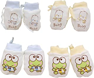 Lucky staryuan 4Pack Cotton Infant No Scratch Gloves Drawstring Adjustable (Boy)