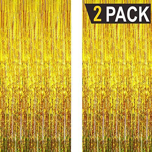 GOER 3.2 ft x 9.8 ft Metallic Tinsel Foil Fringe Curtains for Party Photo Backdrop Wedding Decor (2 Packs, Gold)