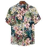 Camisa Hawaiana Funky para Hombre, Manga Corta, Estampado Hawaiano, melón, Flamenco, Frutas, Informal, Holgado, de Talla Grande, Camisa de Playa de Moda 3XL