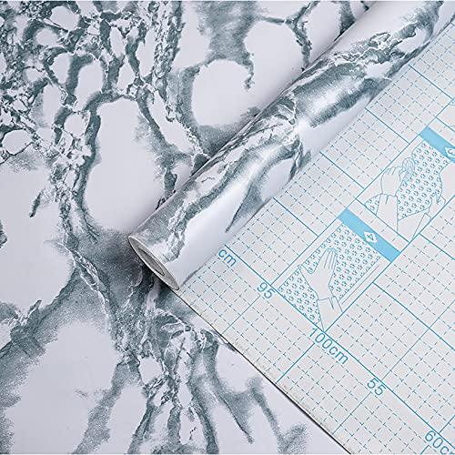 HOLSKEAT Papel Pintado Autoadhesivo Adhesivo para Encimera de Cocina Adhesivo Mármol Muebles Papel Pared para Puertas de Armario 0.45x10m,Azul