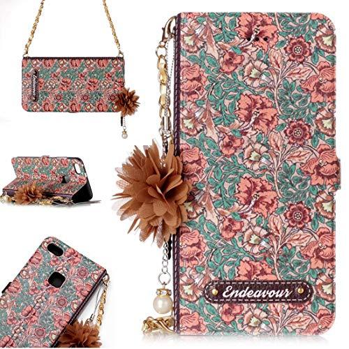 para Cajas de Cuero. DJM para Huawei P10 Lite Daisy Flower Poder Horizontal Funda de Cuero con Soporte y Ranuras para Tarjetas y Adornos y Cadenas de la Flor de la Perla (Color : Color7)