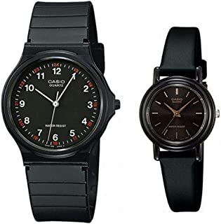 Casio His & Her For Unisex Black Dial Resin Band Couple Watch - MQ-24-1B/LQ-139EMV-1A, Analog, Japanese Quartz
