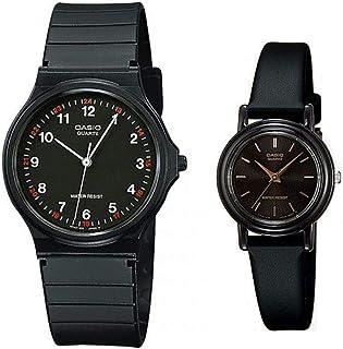 ساعات كاسيو هيز اند هير سوداء  لكلا الجنسين بسوار من الراتنج - MQ-24-1B/LQ-139EMV-1A