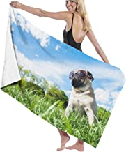 Print Yoga Mat Pug Under The Sky With Sunglasses Large Bath Towels Bath Towel Set Soft Highly Absorbent Unisex Suitable For Bathroom Swimming Pool Beach Customized 瑜伽垫