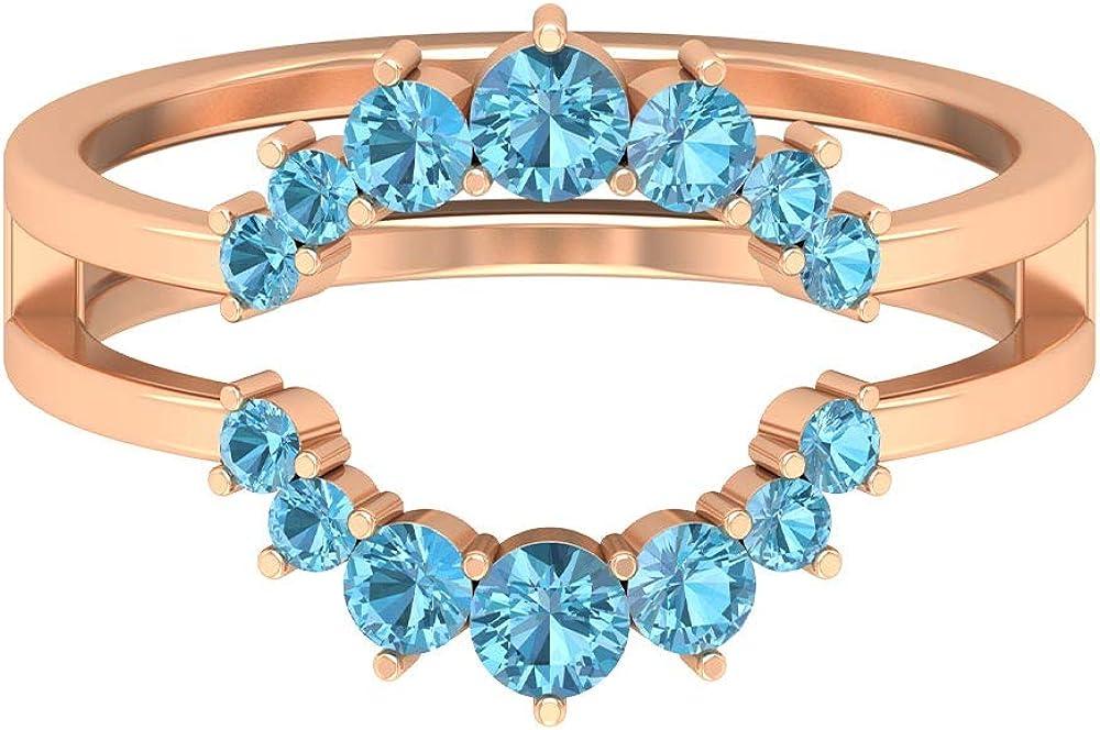 0.69 CT Aquamarine Tiara Ring, Double Crown Engagement Ring, Sky Blue Gemstone Wedding Ring, March Birthstone Anniversary Ring, Bridal Ring, 14K Gold