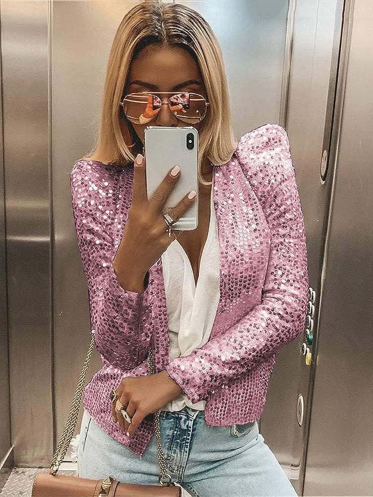 Onsoyours Damen Langarm Herbst Paillette Business Slim Outwear Blazer Bolero Glitter Mantel Cardigan Oberteil Tops Party Outfits Clubwear Rosa