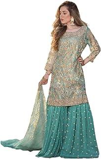 فستان نسائي أزرق لحفلات الكوكتيل وثقيل وثقيل وزي زي تنكري هندي باكستاني 6096